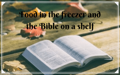 Food in the freezer and the Bible on a shelf